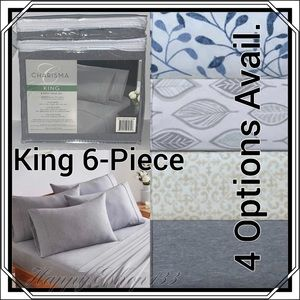 Charisma Microfiber Sheet Set Piece,King,Gray HTR